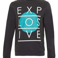 Black Explosive Printed Sweatshirt - Mens Sweatshirts  - Clothing