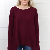 Cozy Fleece Sharkbite Sweater {Burgundy} EXTENDED SIZES