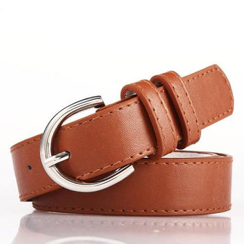 Light Brown Bonded Leather Belt With Metal Buckle