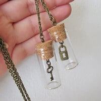 Best Friends Necklaces -  Lock & Key Bottle Necklaces - Gift Idea