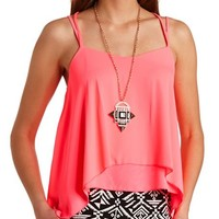 NEON STRAPPY LAYERED CHIFFON TANK TOP