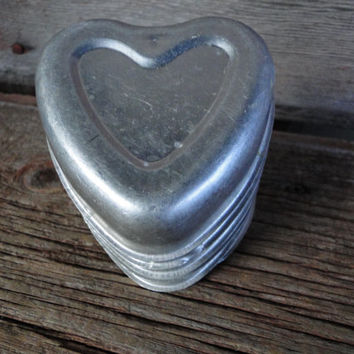 9 vintage aluminum heart shaped individual molds - Wedding table decorations, votive holders , vintage mid century kitchen aluminum molds