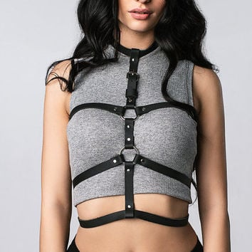 Stylish leather body harness for woman