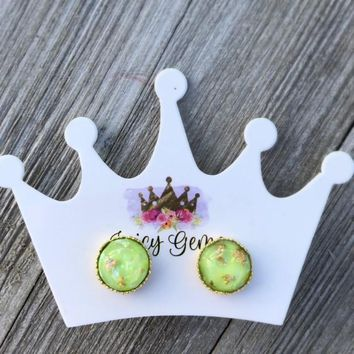 Lime Green Globes Gold Flakes