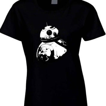 Star Wars The Force Awakens Droid BB Eight Black And White  Womens T Shirt