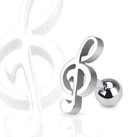 "Surgical Steel Treble Clef Music Note Tragus and Cartilage Piercing Stud - 16GA 1/4"" Long (Sold Ind.)"