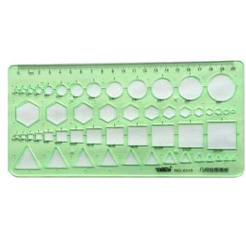 Brand New Green Plastic Circles Squares Geometric Template Ruler Suitable For Student School Stationery