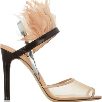 Reed Krakoff|Leather, mesh and feather sandals|NET-A-PORTER.COM