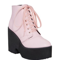 Pastel Pink Lace-Up Platform Booties