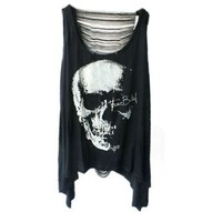 Iwoo Skull Head Pattern Hollow Back Women Tank Tops:Amazon:Clothing