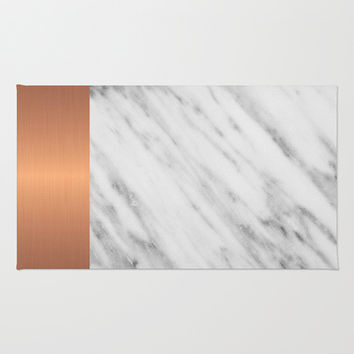 Carrara Italian Marble Holiday Rose Gold Edition Area & Throw Rug by cafelab
