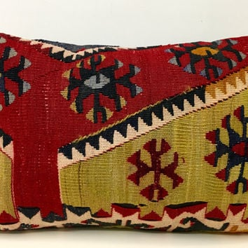 "Colorful kilim pillow, 14X20"" Wool Pillow, Turkish Pillow Covers, Kilim Cushions, Bohemian Vintage pillow, Ethnic Pillow, Rug Cushion Covers"