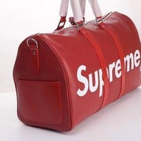 SPBEST high quality replica Supreme leather luggagebag / dufflebag bag with dustbag and box