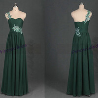 2015 long forest green chiffon prom dresses hot,affordable women dress for holiday party,cheap elegant evening gowns in stock.
