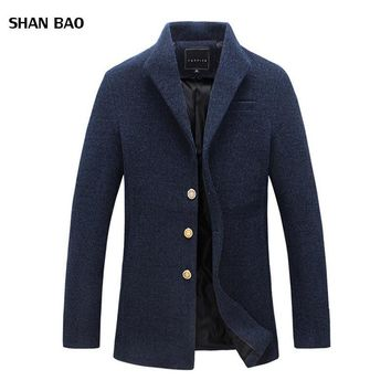 Wool Coat Men Winter New Fashion Brand Mens Overcoat Clothing Trend Single Breasted Peacoat Men High Quality Casaco Masculino