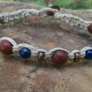 Mens Hemp Bracelet, Lapis Lazuli, Jasper, Hemp Bracelet, Gift for Him, Gemstones, Fall Fashion Accessory, Jewelry for Him