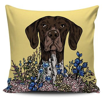 Illustrated German Short Hair Pillow Cover