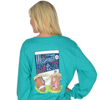 Fourth and Goal Long Sleeve Tee in Tropical Green by Lauren James