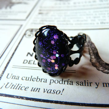 Magic Moon Purple Gothic Ring