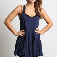 Navy Scoop Back Tank