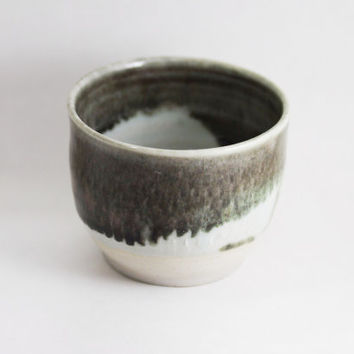 6 oz Ounce Porcelain Tea Bowl, Grey, Wine Glass Tumbler / Unique Coffee Mug Cup Handleless, Handmade Wheel Thrown yunomi pottery
