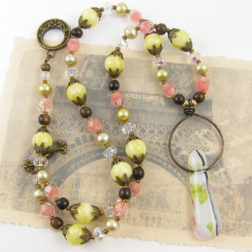 Pink Green Necklace, White Pendant Necklace, Lime Green Gemstone Necklace Pearl Crystal Beaded Jewelry