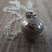 """Dotted Silver Harmony Ball Necklace, Silver Circle Bola Necklace, Pregnancy Necklace, 20mm and 36"""""""