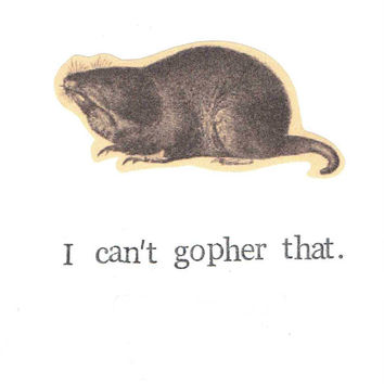 I Can't Gopher That Card Hall And Oates Pun Funny Wildlife Animal Nature Humor Weird Hipster Birthday Men Women