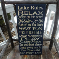 Cabin, Cottage, River, Lake, Lodge, or Beach Rules Sign Wall Sign Carved Engraved 11x24