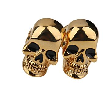 Copper Skull Cufflinks Cuff Links Jewelry Birthday Favor Gift Golden Tone