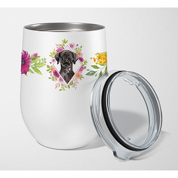 Black Labrador Pink Flowers Stainless Steel 12 oz Stemless Wine Glass CK4261TBL12