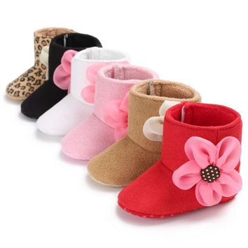 Pudcoco Newest Toddler Girls Cotton Crib Warm Shoes Newborn Baby 3D Flower Soft Sole Winter Boots Sneakers