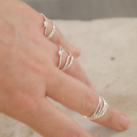 Knuckle Ring, Wrapped Soldered Thin Band Wraparound Rings, Free Form, 3 Sets, Made to Order to Your Size