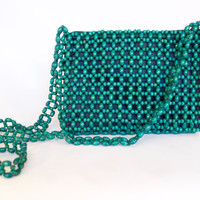 Vintage Teal/Green Beaded Purse/Crossbody