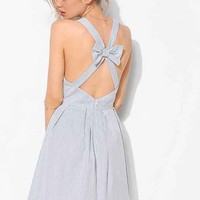 BDG Bow-Back Stripe Sweetheart Dress- Blue