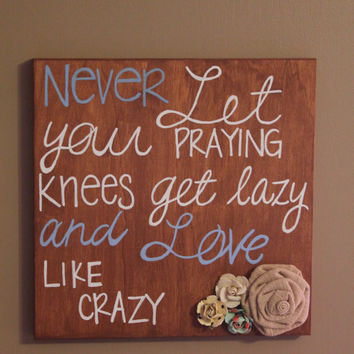 "Wall hanging wood frame 10"" x 10"" Love Like Crazy Embellished with burlap and paper flowers"