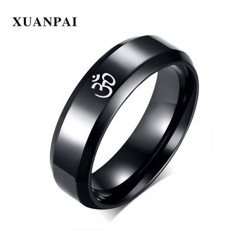 XUANPAI 6mm Wide Stainless Steel Om Meditation Prayer Edges Ring For Men Wedding Ring Personality Engrave Ring US Size 6-12