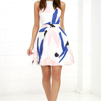 Elliatt Headway Ivory Print Skater Dress