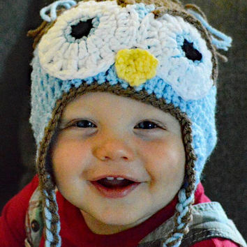 Crochet Boy's  owl hat