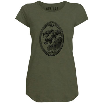 Mintage Shield of Horses Womens Capped Sleeve T-Shirt