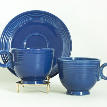 Vintage ORIGINAL Cobalt Blue Fiesta Ware Teacups and Saucer with Ring Handle, Fiestaware Tea Coffee Cups