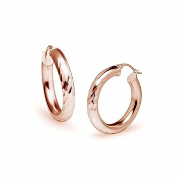 Hammered Diamond Cut Round 4x25mm Hoop Earrings in Rose Gold Plated 925 Silver