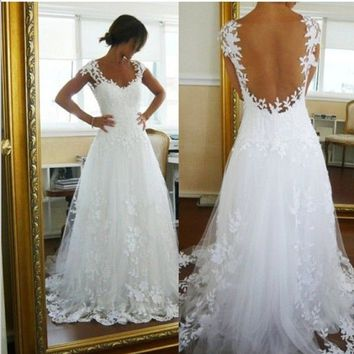2014 Sexy New Backless A Line Lace Bridal Wedding Dresses Gown Custom US Size