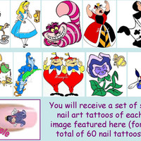 60 x Finger / Toe Nail Art Decals Alice In Wonderland Disney Chesire Cat Queen Of Hearts Mad Hatter & Free Gift