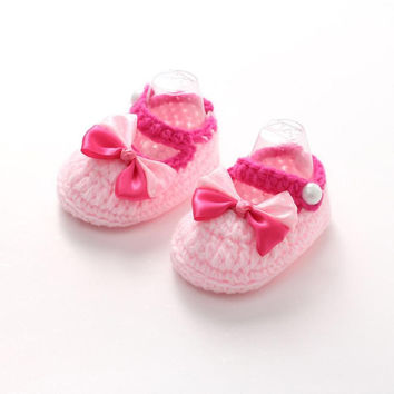 Jan1 Amazing 2016 Spring and Autumn Pink Bowknot Baby Girl Soft Sole Handmade Knit Crib Shoes for 3-12 Month Babies