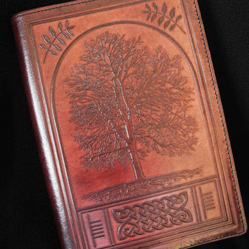 Ash Tree Journal - 'Celtic Tree of Life'  - Handmade Leather A5 Slip Cover - with Refillable Insert Book