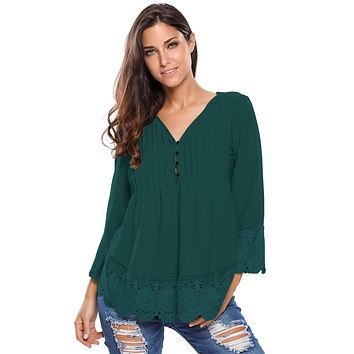 Dark Green Lace Detail Button Up Sleeved Blouse