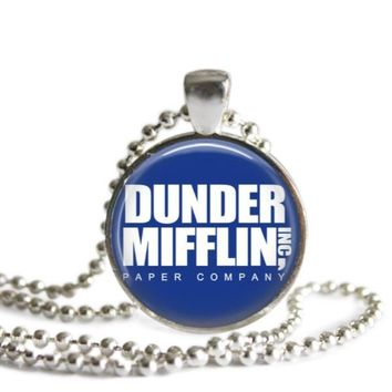 The Office Dunder Mifflin 1 Inch Silver Plated Pendant Necklace Handmade