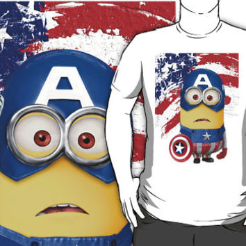 Despicable me minion captain america tee TShirt man, woman and kids by Pointsalestore corp