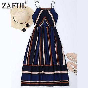 ZAFUL Women Retro Dresses Summer Striped Vintage Dress Maxi Sleeveless Evening Party Dresses Feminino Vestidos De Festa robe